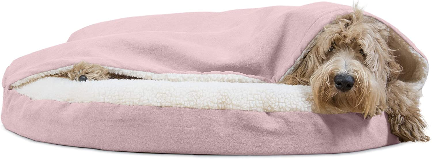 Furhaven Pet Dog Bed   Therapeutic Round Cuddle Nest Snuggery Burrow Blanket Pet Bed w/ Removable Cover for Dogs & Cats - Available in Multiple Colors & Styles