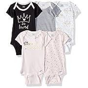 Gerber Baby Girls' 5-Pack Variety Onesies Bodysuits, Princess Crown, 6-9 Months