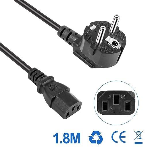 Roleadro 1.8M/6Ft Cable de alimentación europeo,10A European power cord con 3