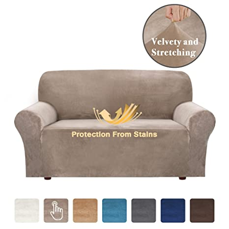 Remarkable Velvet Plush Fabric Stretch Sofa Cover Slipcovers With Elastic Bottom Sofa Slipcover Slip Resistant Stylish Furniture Cover Protector Machine Washable Forskolin Free Trial Chair Design Images Forskolin Free Trialorg