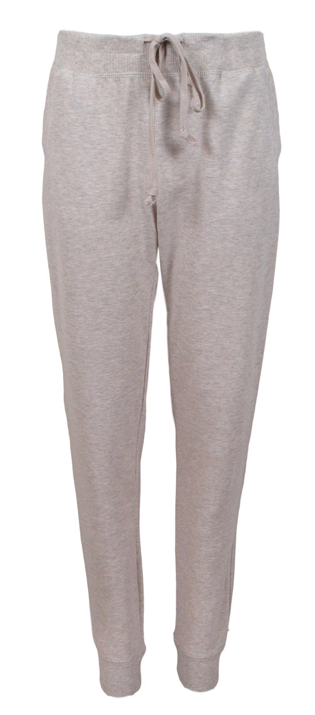 Ambiance Women's Juniors Soft Jogger Pants (M, Oatmeal)