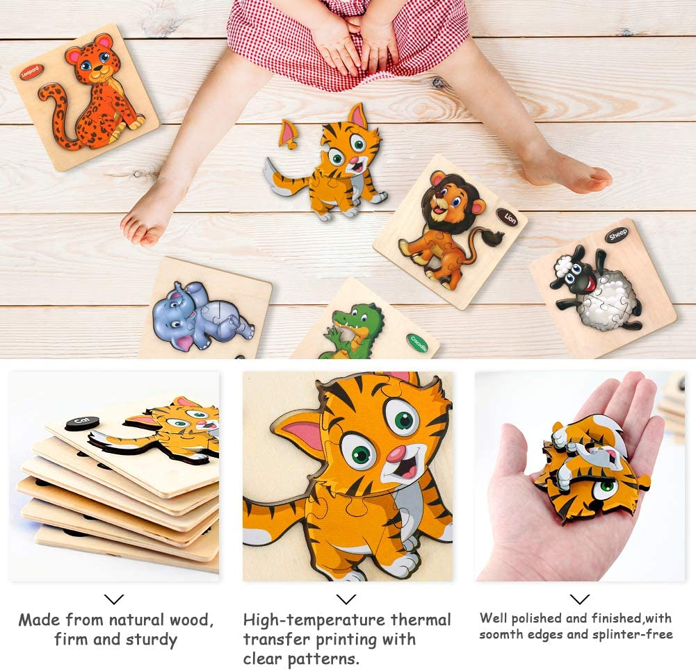 6PCS Toddler Puzzles Wooden Puzzles Pegged Puzzles Wooden Toddler Puzzles Gifts Toys for 1-3 Year Old Boys Girls Learning Animals Educational Games