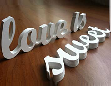 "Wedding Decoration ""LOVE IS SWEET"" Wooden Letters, Wood Sign for  Sweetheart Table"