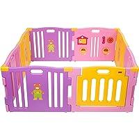 Mcc® Corralito de plástico para infantil para niños con 8 paneles, barrera protectora con compuerta (color rosa)