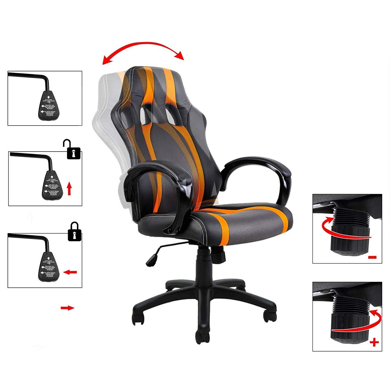Deuba Silla de oficina asiento de ecritorio móvil con 5 ruedas deportivo Negro y Naranja en PU función de balanceo