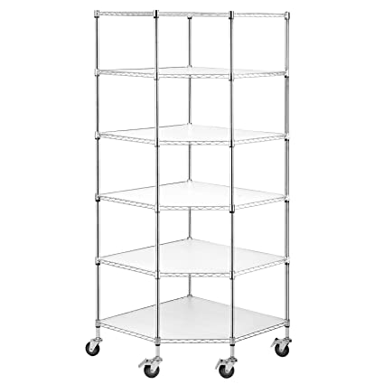 SUNCOO Wire Shelving Unit Storage Rack Metal Kitchen Shelf Stainless Steel  Heavy Duty Adjustable Shelves Chrome