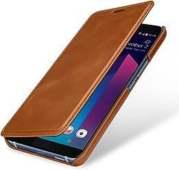 StilGut Book Type Case, Custodia per HTC U11+ a Libro Booklet in Vera Pelle, Cognac