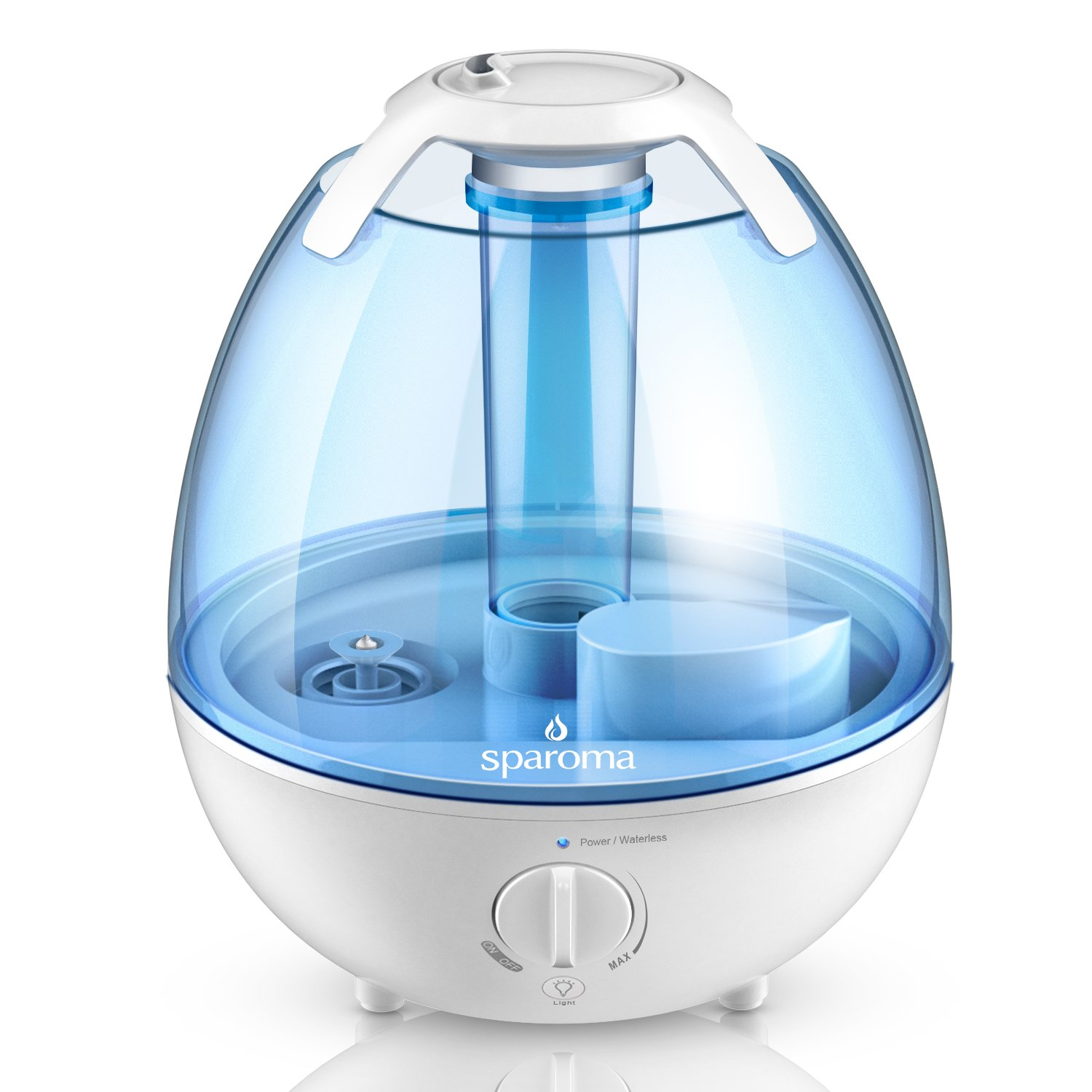 Ultrasonic Humidifier - Cool Mist Humidifier Air Humidifier for Home, Mist Humidifiers with Silver ion Antibacterial Agent, Multi Mist Levels, Various Night Lights, Ideal Humidifiers for Baby Bedroom by Sparoma