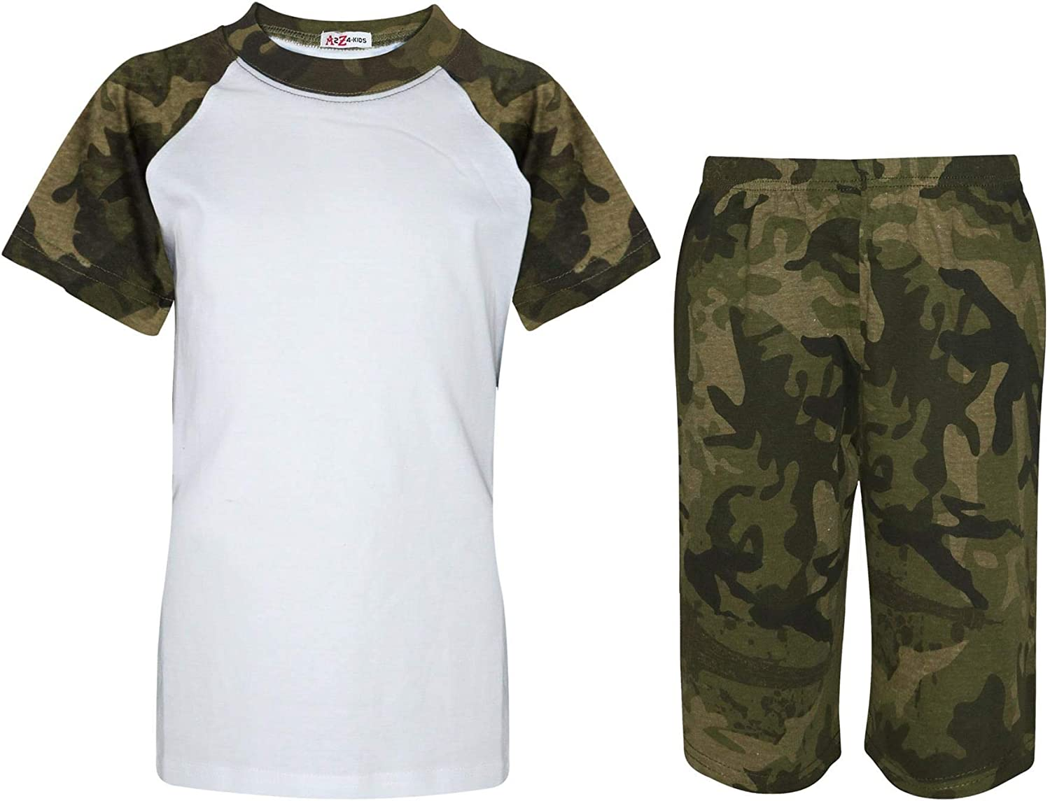 A2Z 4 Kids Kids Girls Boys Camouflage Green Contrast Color Short Sleeves Top /& Knee Length Shorts Sleepwear Summer Outfit Nightwear T Shirt /& Short Sets New Age 2 3 4 5 6 7 8 9 10 11 12 13 Years