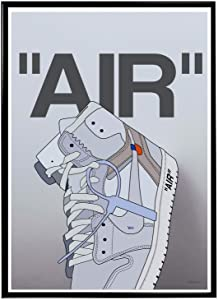 Custom White Air Sneaker Poster, Hype Poster, Pop Culture Wall Decor, Streetwear Pop Art Posters (FRAME NOT INCLUDED) (12x18)