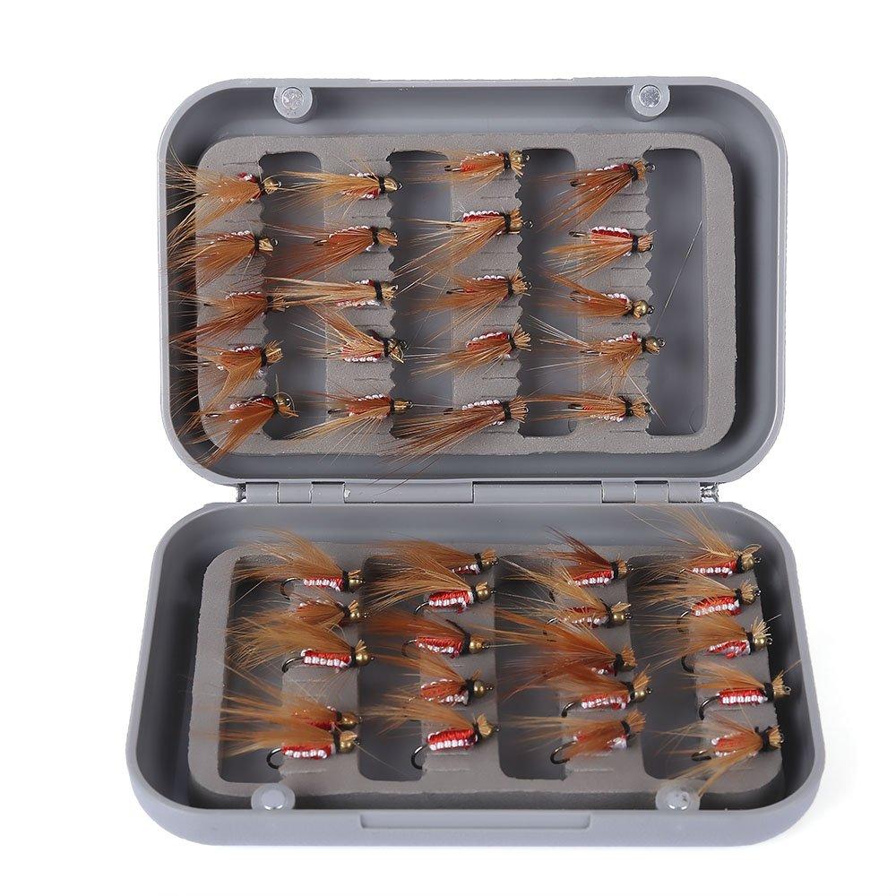 zhang-hongjun,Glissière de Poisson Volant 40pcs / Box Biomimetic Fishhook Insecte appropriée à la pêche en rivière, pêche en étang, pêche en lac(Color:Rouge)