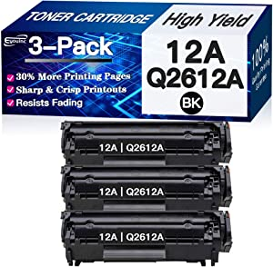 Compatible 3-Pack 12A Toner Cartridge Q2612A Used for HP Laserjet 1012 1018 1020 1022 3015 3020 3030 3050 3052 3055 M1319 (Black), Sold by Eyouinc