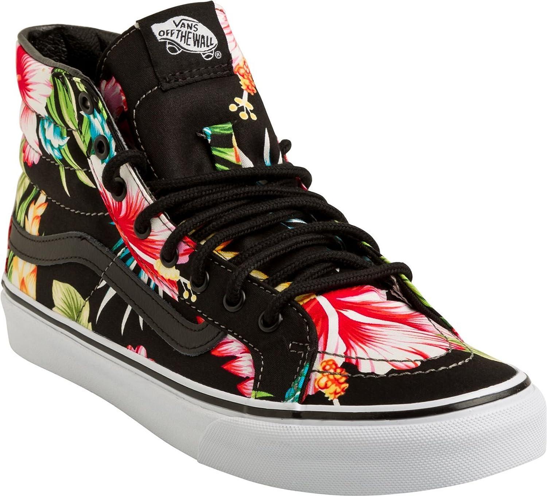 03792ea643 Vans Women s Sk8-Hi Slim Canvas Lace Up Trainer Hawaiian Floral Black   Amazon.co.uk  Shoes   Bags