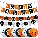 Cebelle Halloween Decoraciones para Fiestas Favores de Suministros, pancartas Happy Halloween de Tela, guirnaldas de Calabaza y guirnaldas Fantasma, 9 Globos de látex Impresos