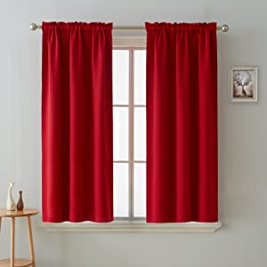 Deconovo Blackout Curtains Room Darkening Thermal Insulated Curtain Panels Rod Pocket for Living Room Red 38 x 45 Inch 2 Panels