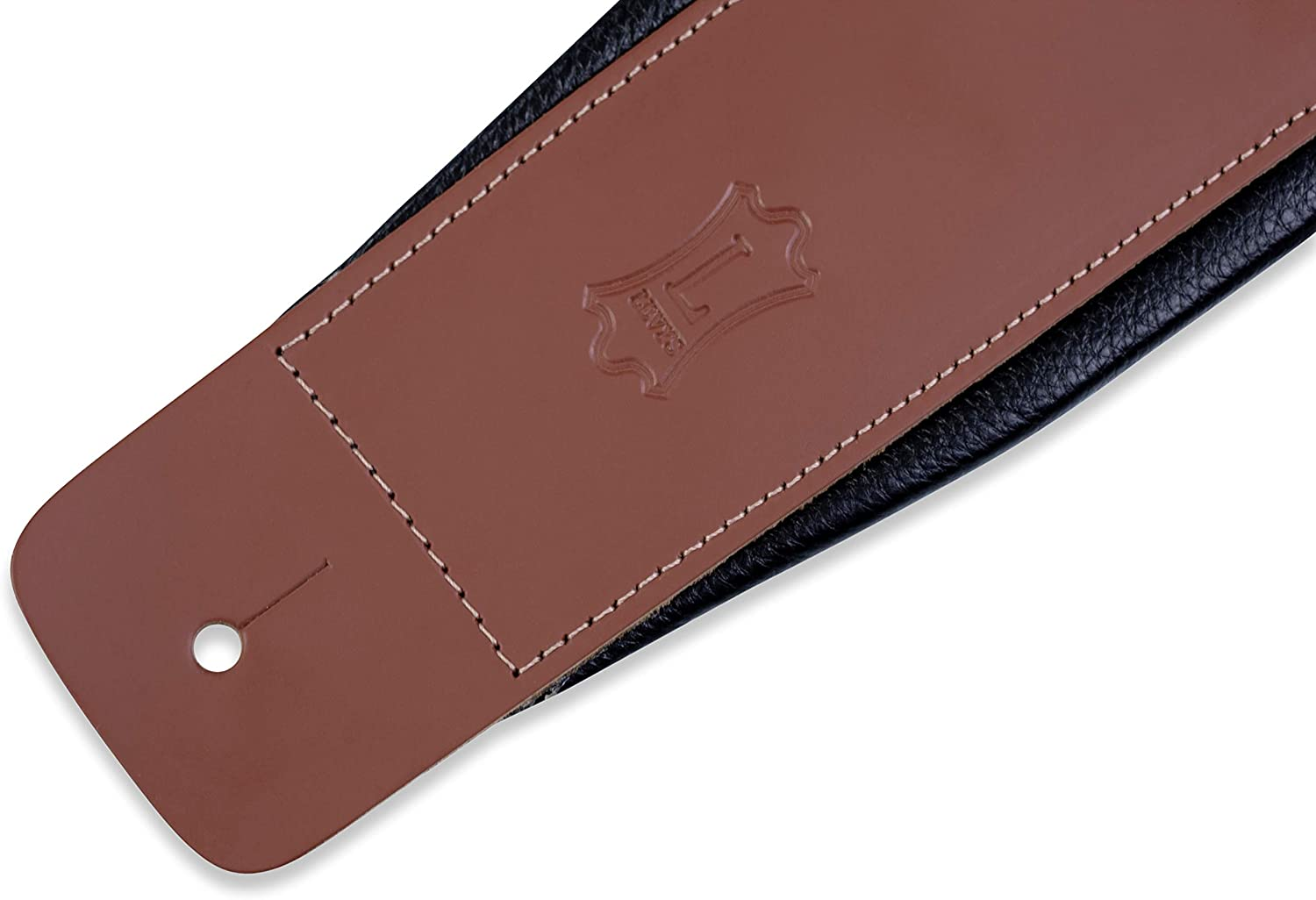 Levys Leathers 3 Leather Guitar Strap with Foam Padding and Garment Leather Backing; Brown DM1PD-BRN