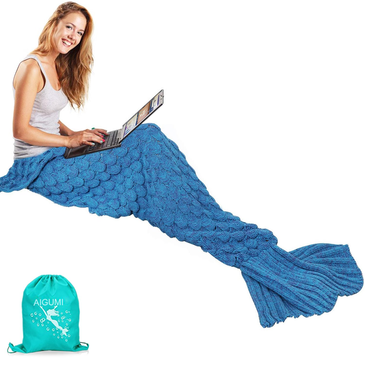 Mermaid Tail Blanket, AIGUMI Handmade Knitted Blankie Tails, Warm Sofa Quilt Living room blanket,All Seasons Cozy Sleeping Bags for Adults and Kids 190cmX90cm(74.8 inch x35.4 inch ) (Purple)