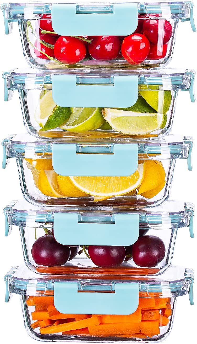 SUNNOW Vastto 5 Pack 34 Ounce Glass Food Storage Containers with BPA Free Airtight Lids, Glass Meal Prep Containers,Airtight Glass Lunch Bento Boxes,for Kitchen and Home Use(Turquoise)