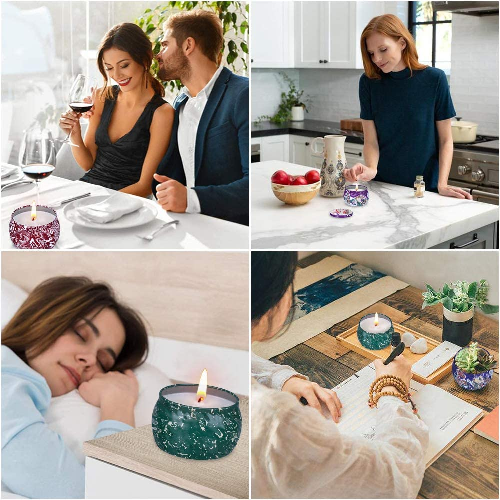2021 Scented Candles Gifts Set for Women 4 x 4.4 oz Soy Wax Candle Scented Lavender Candle Long Lasting Stress Relief Valentines Day Gifts for Wife