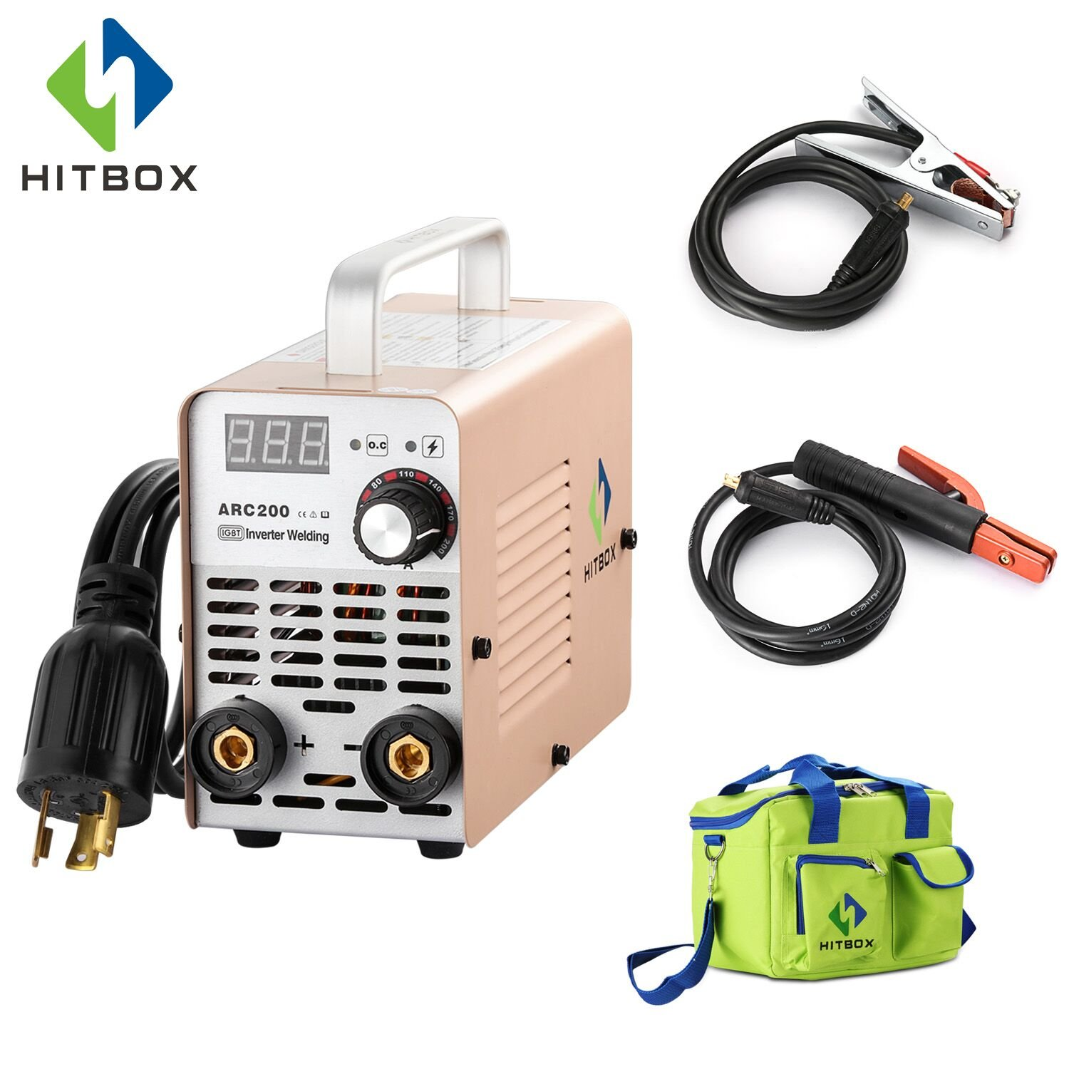 ARC Welder 200A Stick DC 220V Inverter Welding Machine MMA200 ZX7 Rod Stick Portable Welder Complete Package Ready to Use HITBOX SHENZHEN UNITWELD WELDING AND MOTOR