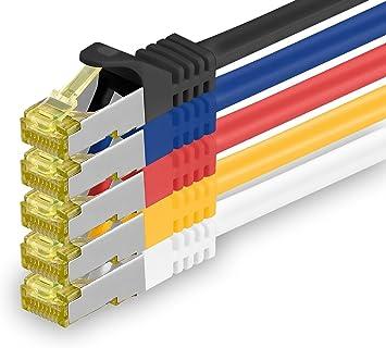 Cable de Red Cat.7 1 Pieza 1m 10 GB//s RJ45 Cat6a Negro Sftp Pimf