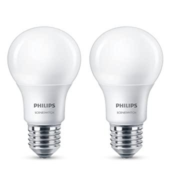Philips SceneSwitch - Paquete de 2 bombillas LED, E27, 8 W, color blanco