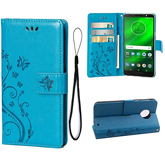 620696e0f0a2 Wallet Case Moto G6 Case, Luxury PU Leather Wallet Case Magnetic Closure  Kickstand Flip Folio Protective Cover with Credit Card Slots and Wrist  Strap ...
