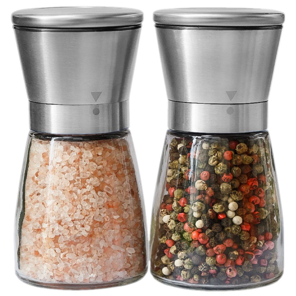 Salt and Pepper Grinder Set - Salt and Pepper Shakers for Professional Chef - Best Spice Mill with Brushed Stainless Steel, Special Mark, Ceramic Blades and Adjustable Coarseness by Kitchen-GO