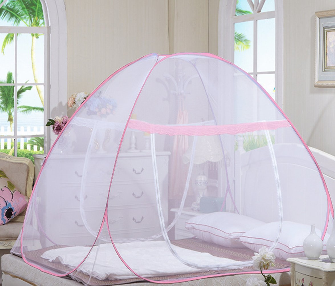 DmsBanga 2017 New Camping Most Popular Mosquito Net for Bed Pop Up Nursery Guard Tent Folding Bottom Canopy Zipper Baby Toddlers Kids Adult Yurt Playhouse With Stand Pink(200×180×150 Cm)