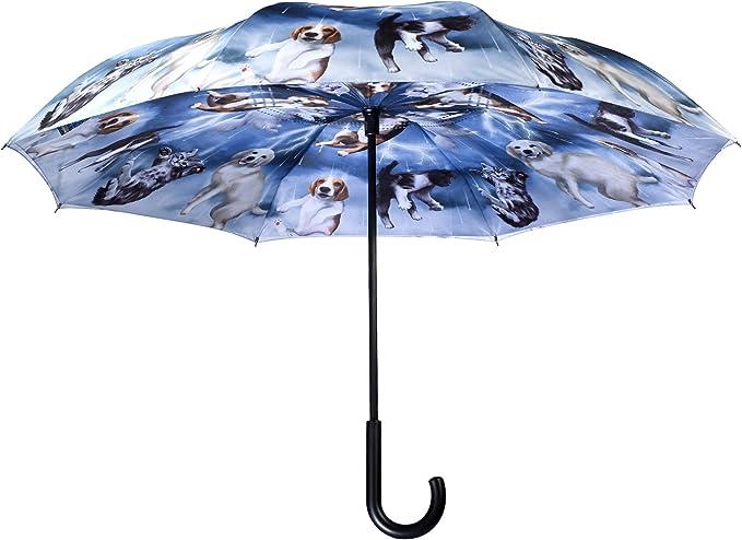 Inverted Umbrella with Cute Seychellois Cat Funny Print Car Reverse Folding Umbrella