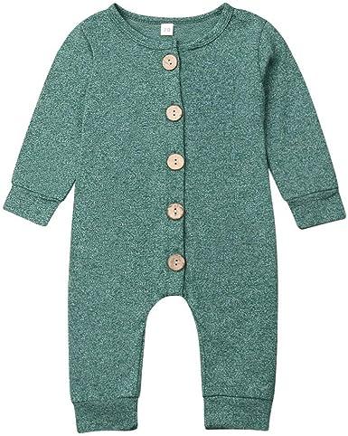 Bebé Pijama de Algodón Mono de Mameluco con Manga Larga para Niño y Niña Ropa de Traje de Pelele con Botones de Una Pieza (0-18 Meses)
