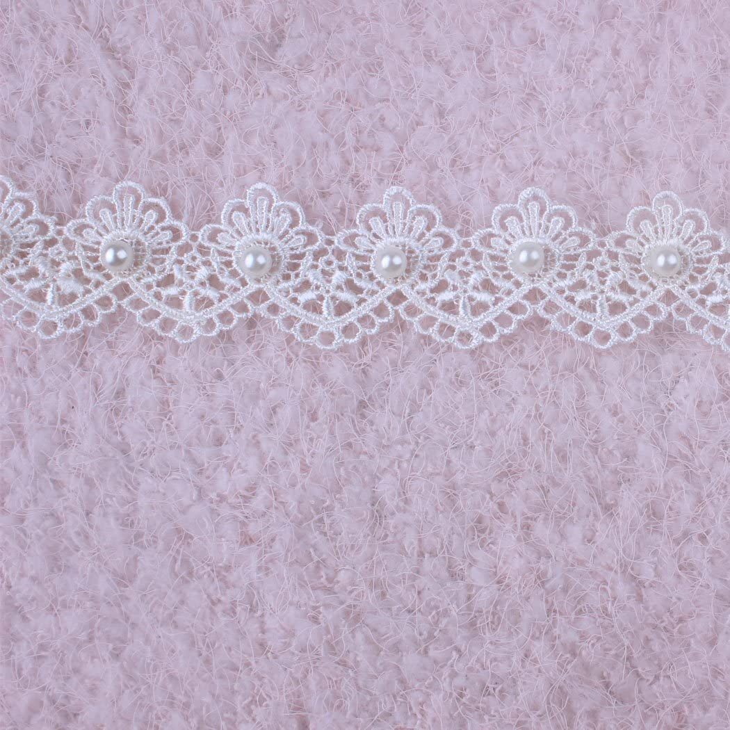 3 Yards Ivory Off Whtie Pearl and Lace Beaded Floral Venise Trim Wedding Bridal Ribbon Vintage