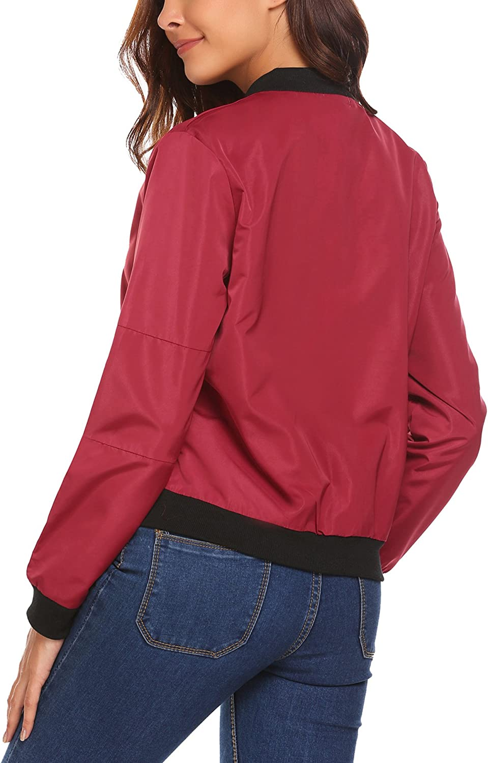 HOTOUCH Womens Bomber Jacket Classic Zip Up Biker Vintage Short Jacket+Pockets