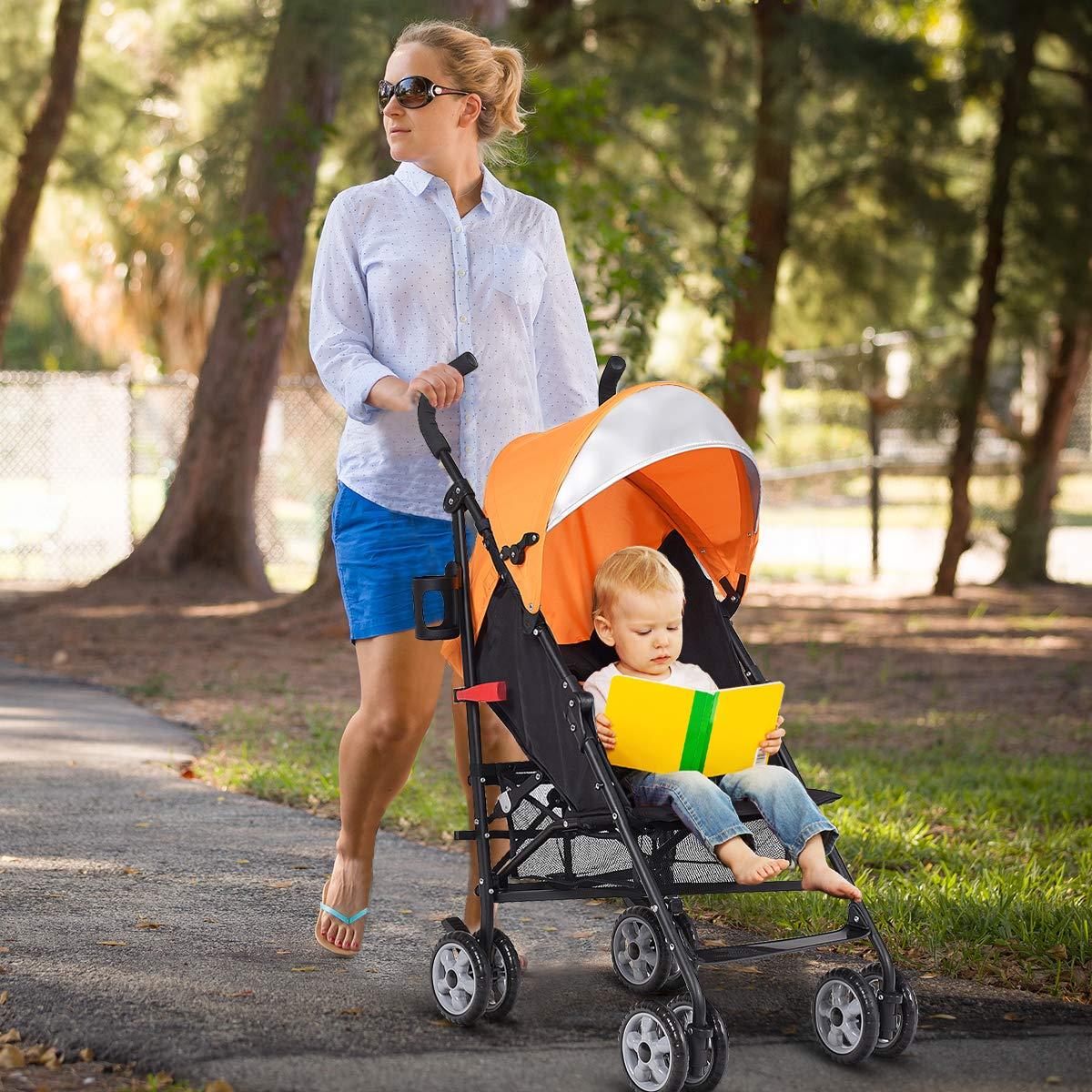 INFANS Lightweight Baby Umbrella Stroller, Foldable Infant Travel Stroller with 4 Position Recline, Adjustable Backrest, Cup Holder, Storage Basket, UV Protection Canopy, Carry Belt (Orange) by INFANS (Image #2)