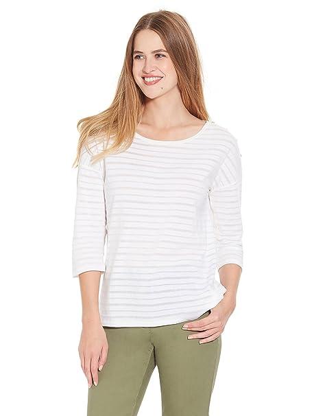 Balsamik - Camiseta de rayas desgastadas - Mujer: Amazon.es: Ropa y accesorios