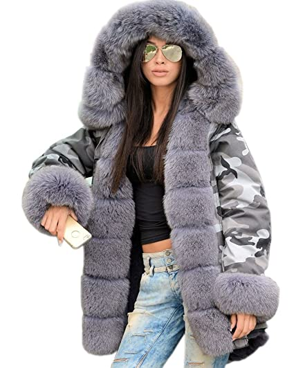 fba7421b3960 Roiii Women Winter Camouflage Thick Grey Faux Fur Parka Long Hooded ...