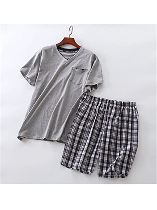 Wigeo Summer 100% Cotton Short Pajama Sets Men Sexy V-Neck Homewear Short Sleeve Sleepwear Male Pijamas Hombre Pyjamas Mens at Amazon Mens Clothing store: