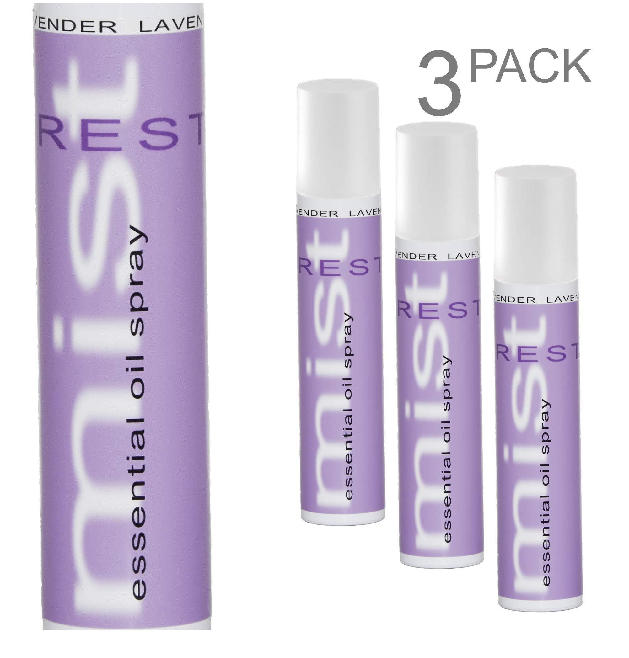 Mist Essential Oils (3 Pack Lavender)- Contains Pure Lavender Essential Oil, Natural Bathroom air freshener, Lavender Room Spray, Linen Spray, Fabric Spray, Room Spray air freshener, Pillow Spray. by Mist Essential Oil Spray