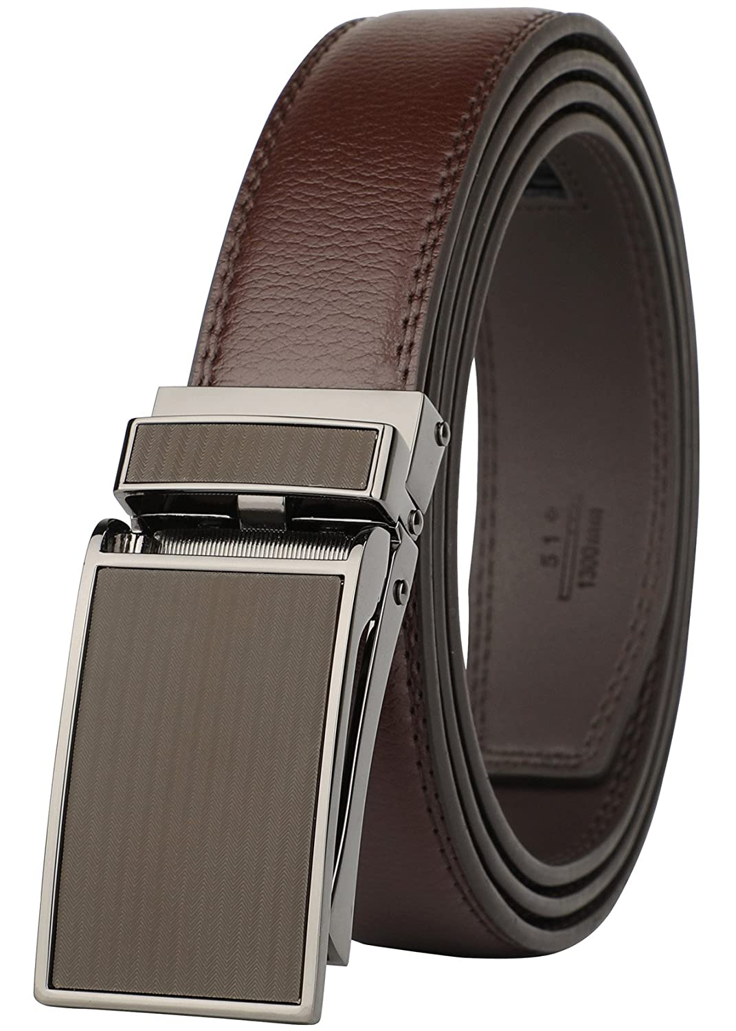 Belt for Men, Genuine Leather Ratchet Dress Comfort Belt with Slide Click Buckle, Trim to Fit