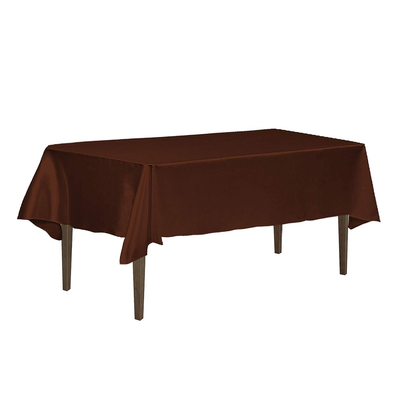 LinenTablecloth 60 x 126-Inch Rectangular Satin Tablecloth Chocolate 60126-060127