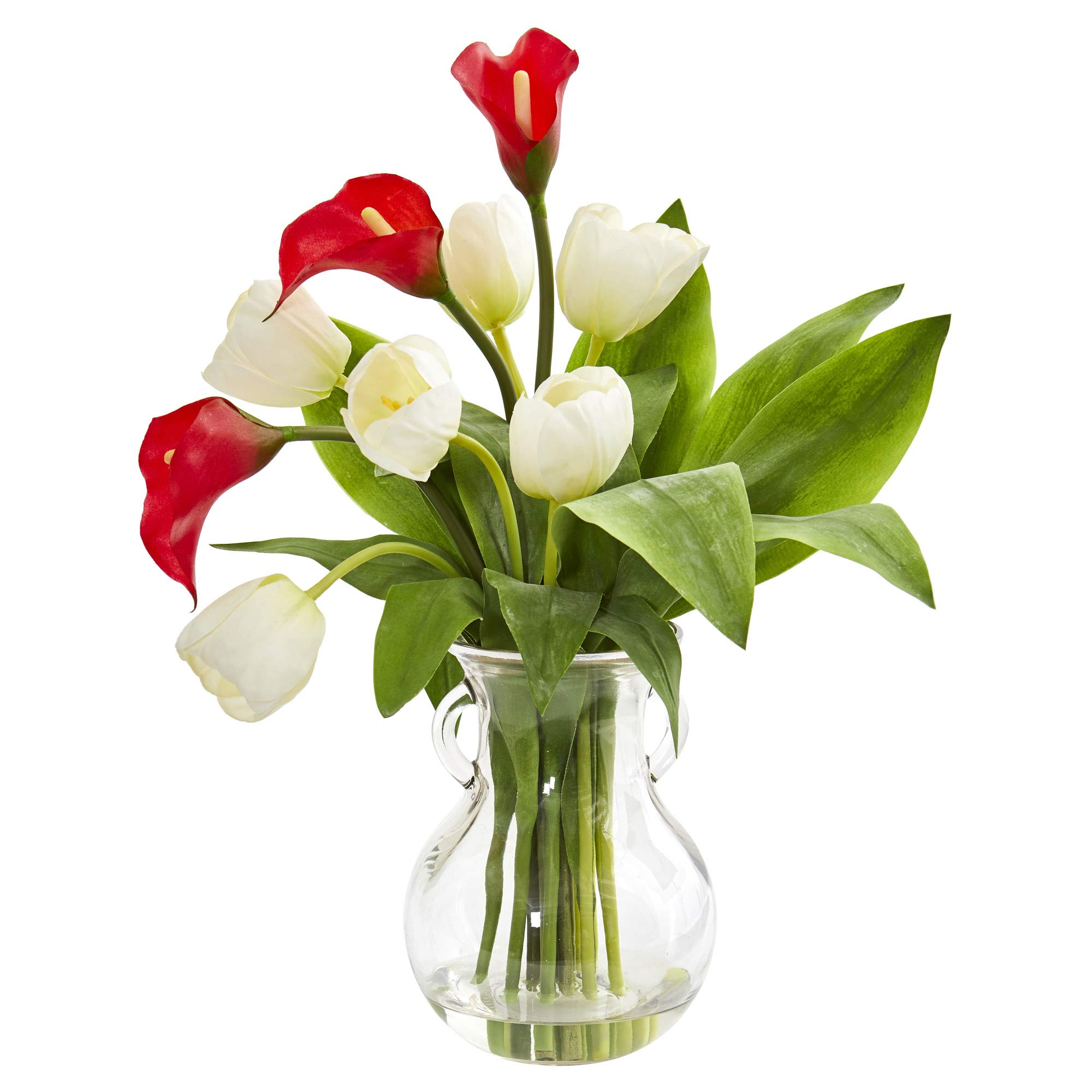 Nearly Natural 1726-RW Calla Lily & Tulips Artificial Decorative Vase Silk Arrangements, Red White by Nearly Natural