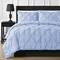 JOYSLEEP Pinch Pleated Duvet Cover 1 Piece 100% Egyptian Cotton 800 Tread Count with Zipper Closure and Corner Ties…