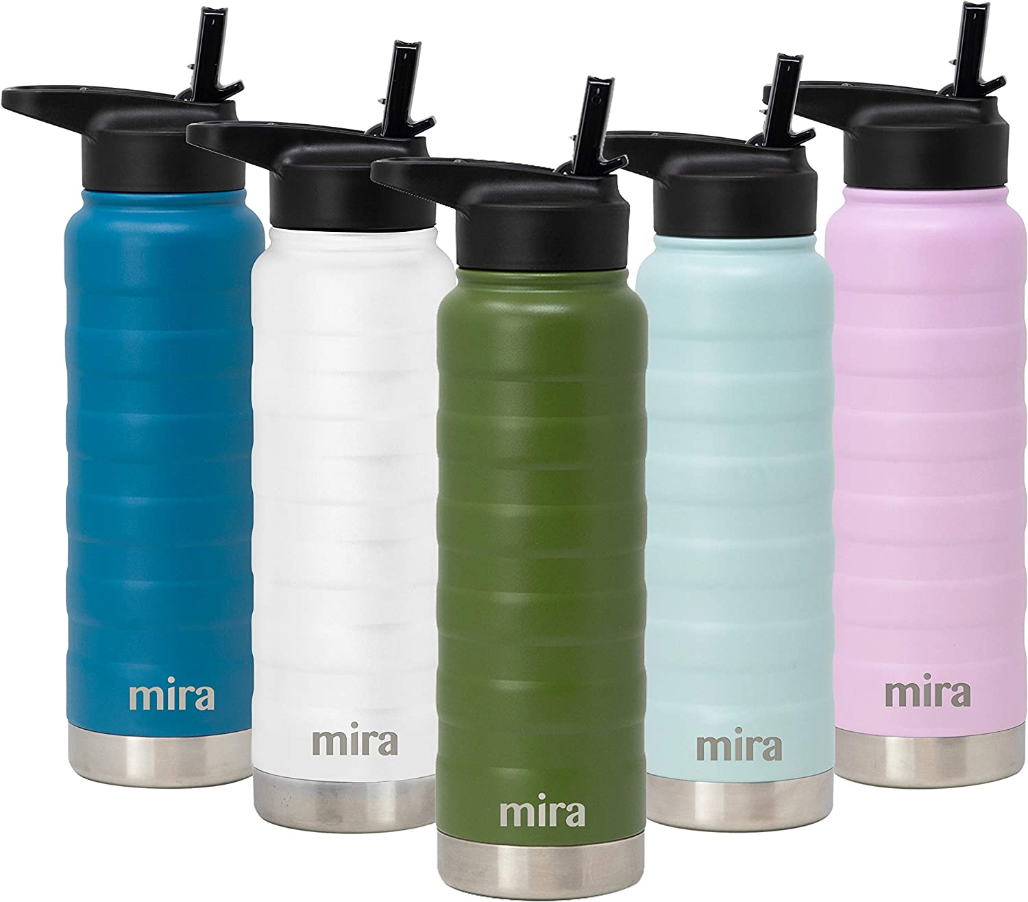 MIRA 25 Oz Stainless Steel Vacuum Insulated Ridge Water Bottle | Double Walled Thermos Flask | 24 Hours Cold, 12 Hours Hot | Reusable Metal Water Bottle | Leak-Proof Sports Bottle | Olive Green