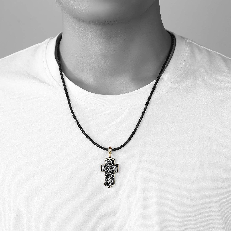 EVBEA Halskette Herren Kreuz Kette f/ür M/änner Bibel Geschenk f/ür M/änner Anh/änger Jesus INRI Kruzifix Papa Geschenkideen Vater Geschenk