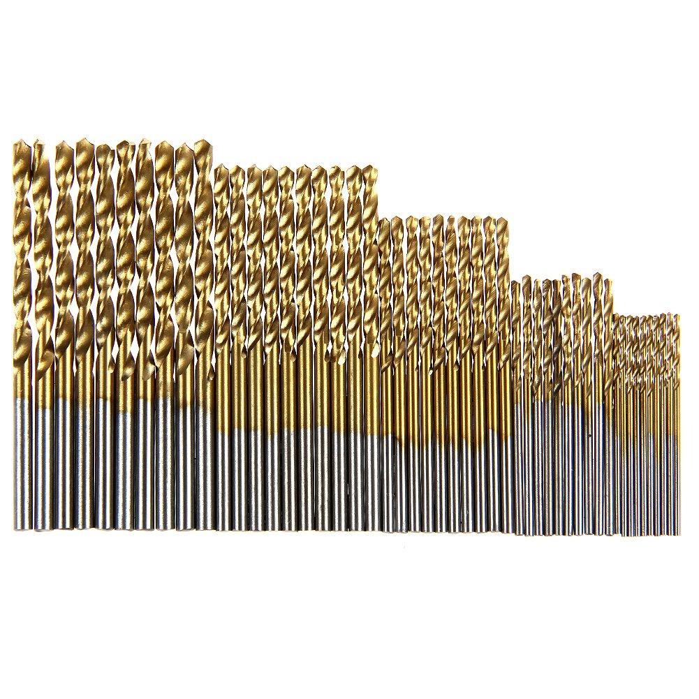 50Pcs/Set Twist Drill Bit Set Saw Set Hss High Steel Titanium Coated Drill Woodworking Tool 1/1.5/2/2.5/3Mm For Plastic Metal 1-