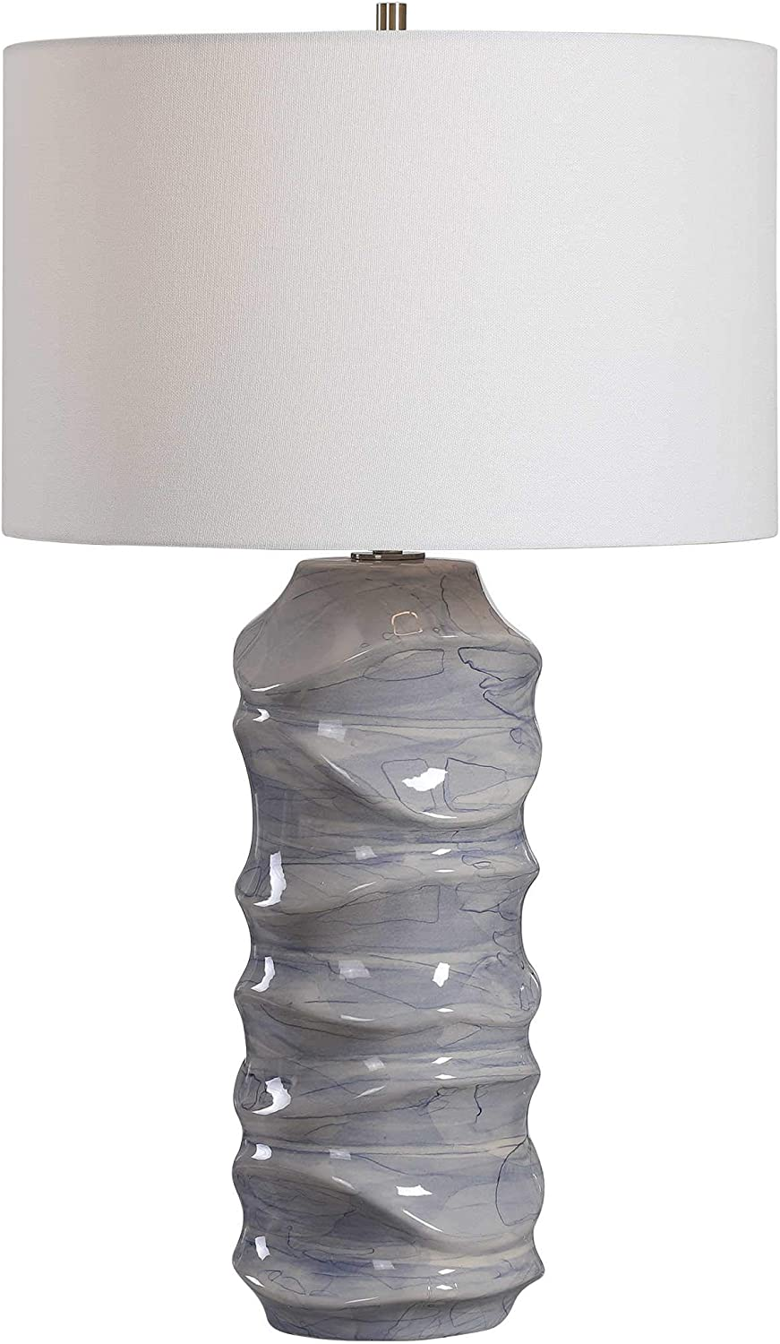 MY SWANKY HOME Luxe Blue White Waves Sculpted Ceramic Table Lamp Wavy Cobalt Drip Glaze Coastal