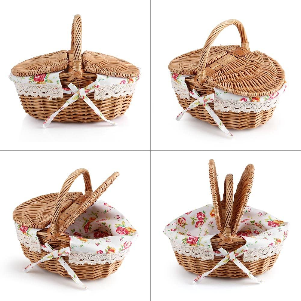 Haokaini Wicker Picnic Basket,Oval Double Lidded Wicker Linen Floral Picnic Storage Basket Holiday Camping Use Home Decor Utensils Cutlery Flatware