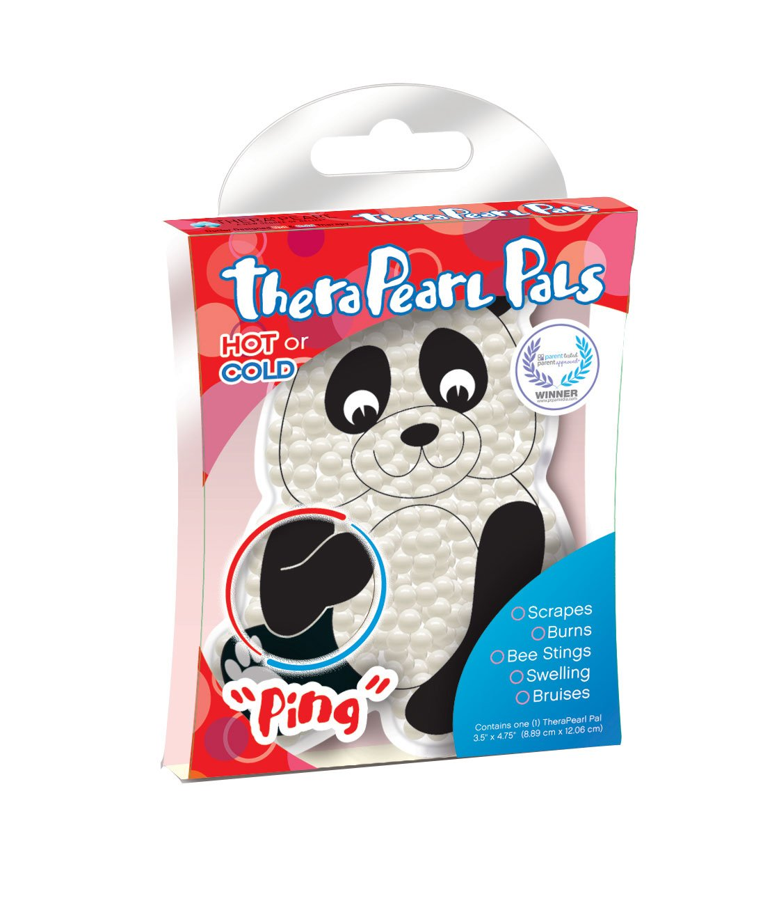 TheraPearl Children's Pals, Ping the Panda, Non Toxic Reusable Animal Shaped Hot Cold Therapy Pack, Flexible Compress for Injuries, Swelling, Pain Relief, Bee Stings