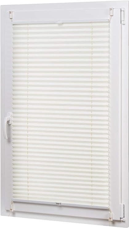 AmazonBasics - Estor enrollable plisado, de tela de poliéster color liso, con sistema de clips, 60 x 130 cm, Crema: Amazon.es: Hogar