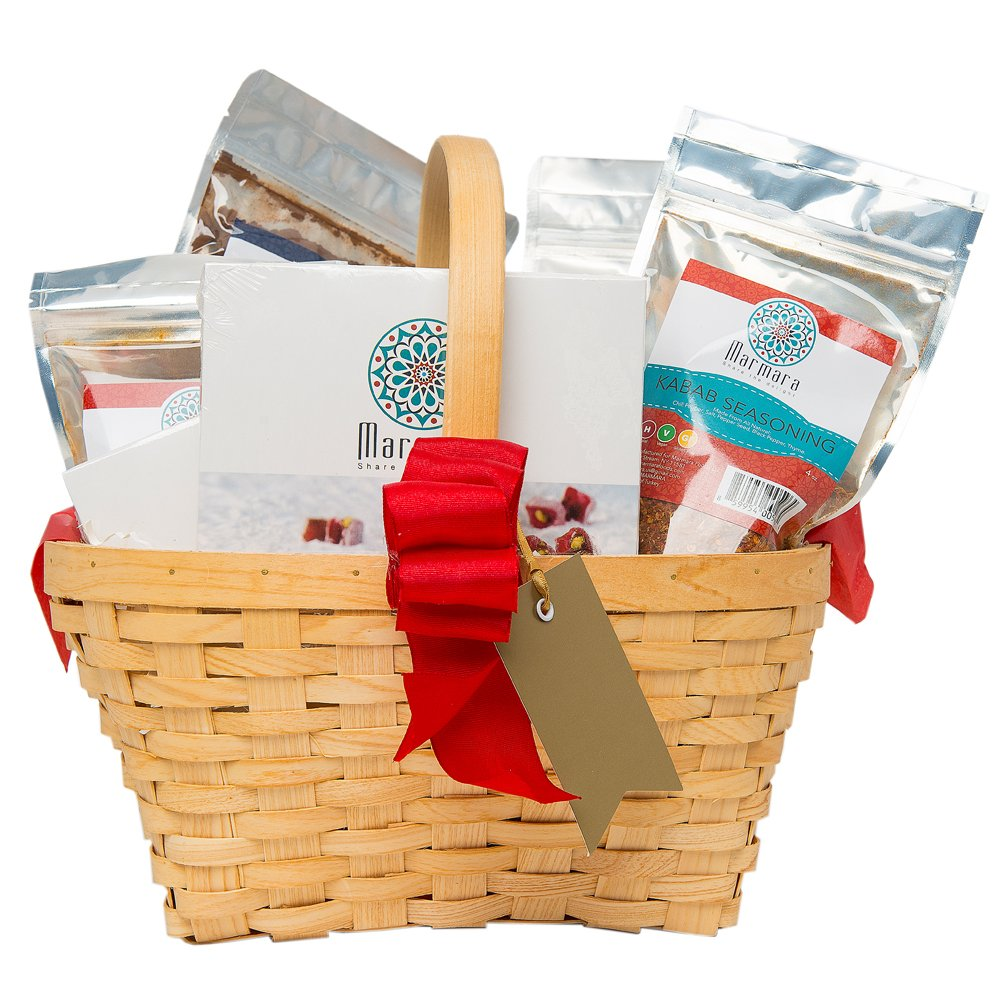 Special SALE! Marmara Premium Large Gourmet Gift Basket. Turkish Delights, Natural Tea, Pistachio Halva, Turkish Coffee, Seasonings and Candy Bags. Perfect Family Corporate Gift.